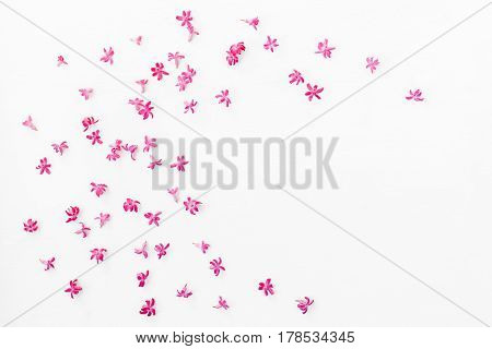 Flowers composition. Frame made of hyacinth flowers on white background. Flat lay top view