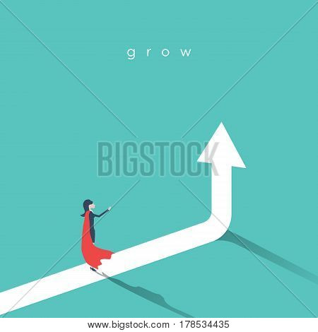 Business woman superhero with rising arrow as a symbol of woman power, feminism and success. Eps10 vector illustration.