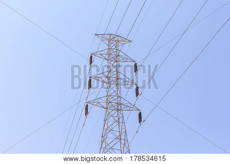 high voltage post or High-voltage tower in blue sky background.