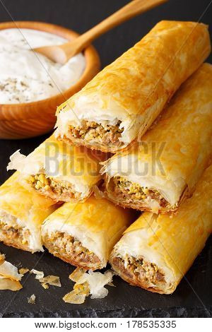 Rolls Of Filo Stuffed With Meat, Eggs And Greens Close-up. Vertical