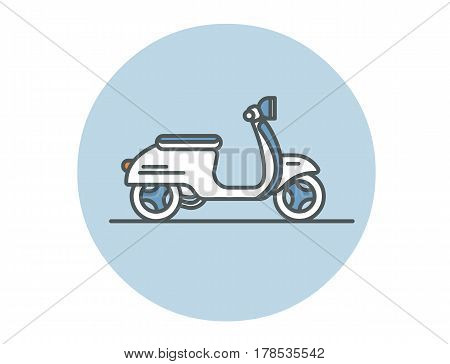 Vector illustration of scooter. City transport modern flat icon.