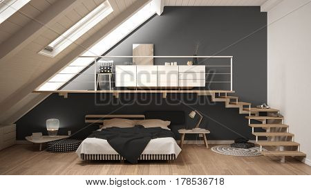 Loft Mezzanine Scandinavian Minimalist Bedroom, Gray Classic Interior Design