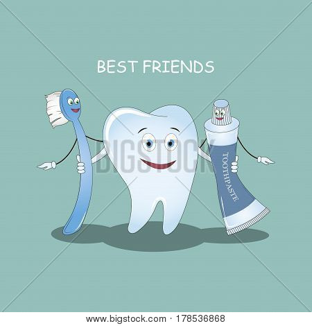 Best Friends teeth. Vector illustration. Illustration for children dentistry and orthodontics. Image toothbrush, tooth paste and tooth.