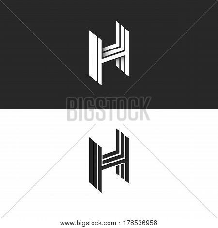 Isometric Letter H Logo Perspective Hipster Monogram, Simple Linear Typography Black And White Emble