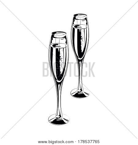 Pair of champagne glasses of sketch style vector illustration isolated on white background. Hand drawn glasses with bubbly champagne, cheers, holiday toast