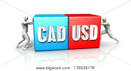 CAD USD Currency Pair Fighting in Blue Red and White Background 3D Illustration Render