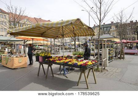 GRAZ, AUSTRIA - MARCH 20, 2017: Stalls on market in square of Graz the capital of federal state of Styria Austria.