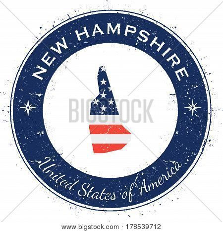 New Hampshire Circular Patriotic Badge. Grunge Rubber Stamp With Usa State Flag, Map And The New Ham