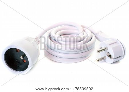 extension cable in front of white background