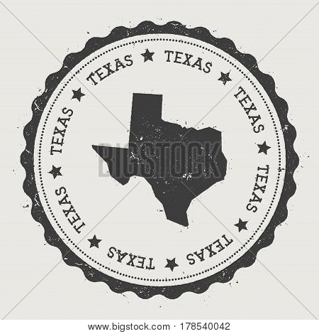 Texas Vector Sticker. Hipster Round Rubber Stamp With Us State Map. Vintage Passport Stamp With Circ