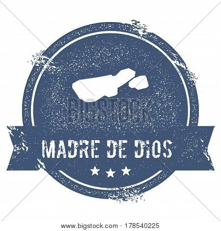 Madre De Dios Island Logo Sign. Travel Rubber Stamp With The Name And Map Of Island, Vector Illustra