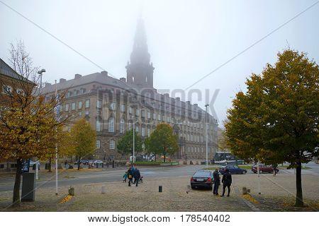 COPENHAGEN, DENMARK - NOVEMBER 01, 2014: View of the Christiansborg castle foggy November day
