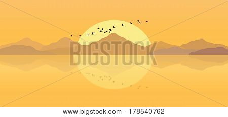 An Illustration of a sunset in the mountains. Peaceful sunset. Evening sun.