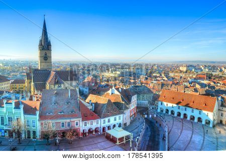 Aerial view over Sibiu city, traditional medieval architecture, Romania