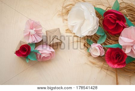 Red And Rose Paper Flowers