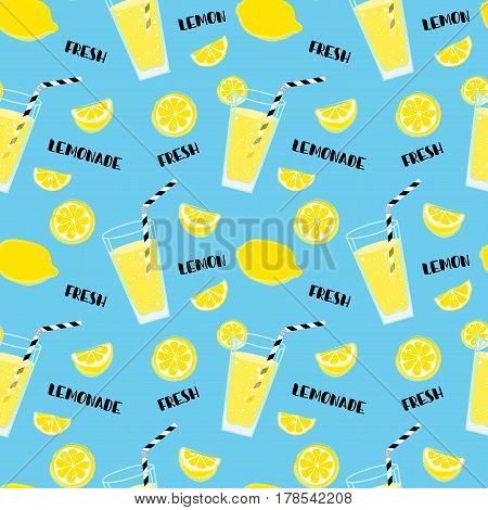 Lemonade seamless pattern with yellow lemons and glass with drinking straw,  sipper, bendie and black text on soft blue background. Fresh.  Whole and parts, slice. Summer