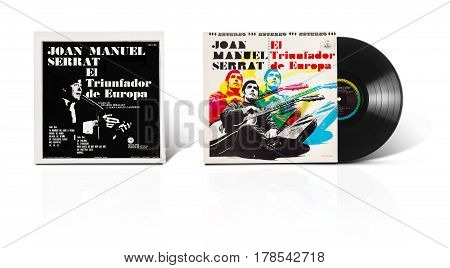 Rishon LeZion Israel-August 31 2016: Old vinyl stereo album Joan Manuel Serrat El Triunfador de Europa. Manufactured in Mexico in 1969 by Discos Musart SA. Covers and vinyl disc are shooted on white background