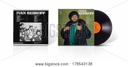 Rishon LeZion Israel-August 31 2016: Old vinyl stereo album Ivan Rebroff. Compilation of 12 songs in Russian. Manufactured by CBS Records Tel Aviv Israel in 1972. Covers and vinyl disc are shooted on white background