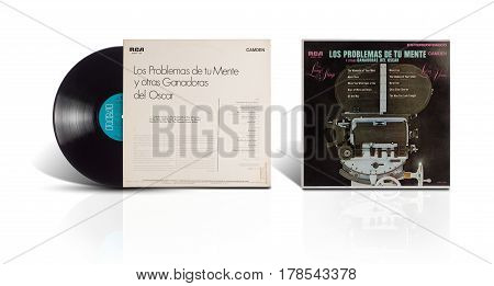 Rishon LeZion Israel-August 12 2016: Old vinyl stereo album Los Problemas de tu Mente y otras Ganadoras del Oscar. Compilation of Academy Award winning songs. The LP was released in Mexico by Camden RCA S.A.. Covers and vinyl disc are shooted on white bac