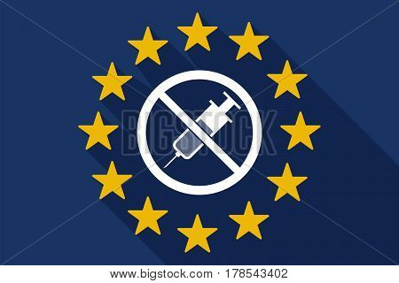 Long Shadow Eu Flag With  A Syringe  In A Not Allowed Signal