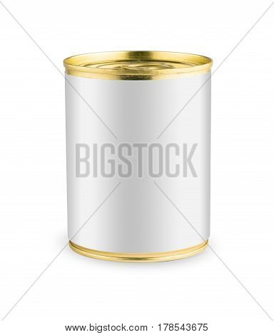 White blank tincan gold metal Tin Can with key, canned Food. Isolated on white background. Ready for your design. Real product packing.