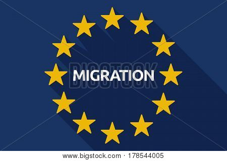 Long Shadow Eu Flag With  The Text Migration