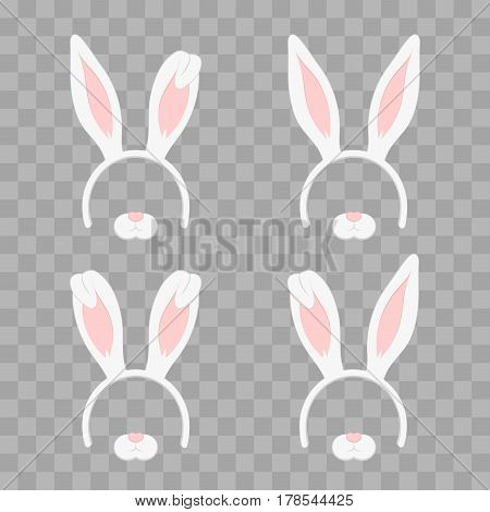 Set of Easter mask with rabbit ears isolated on transparent checkered, illustration. Cartoon Cute Headband with Ears Holiday Set. Flat Design Style