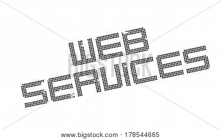 Web Services rubber stamp. Grunge design with dust scratches. Effects can be easily removed for a clean, crisp look. Color is easily changed.
