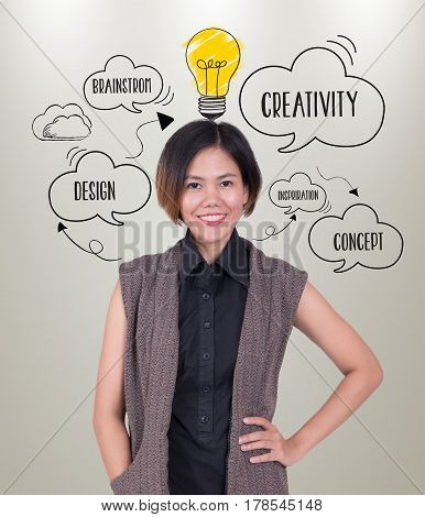 businesswomen with lightbulb. concept for new ideas with innovation and creativity.