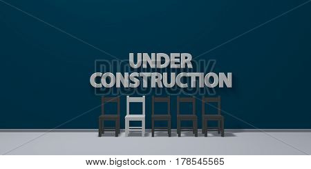 under construction - letters on wound behind row of chairs - 3d rendering
