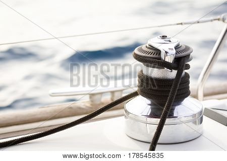 Sailboat winch and rope yacht detail.mediterranean sea
