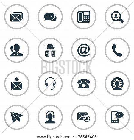 Vector Illustration Set Of Simple Communication Icons. Elements Telephone, Intercommunication, Postal And Other Synonyms House, Message And Symbol.