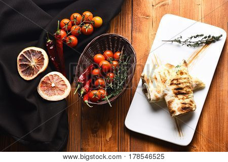 Tasty Lavash Or Pita Bread With Fresh Vegetables