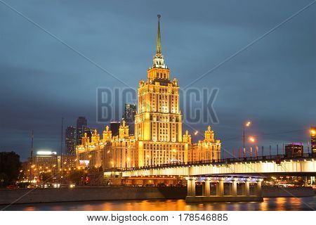 MOSCOW, RUSSIA - SEPTEMBER 07, 2016: Radisson Royal Hotel (Ukraine) closeup in night illumination in the September twilight