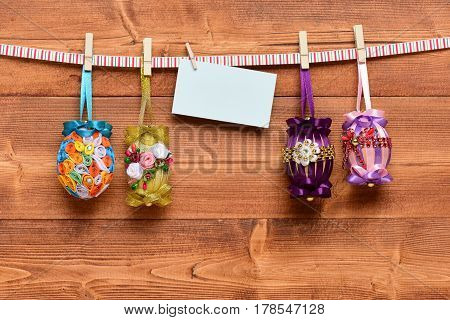 Easter Colorful Eggs Decorated With Thread, Beads, With Paper Sheet