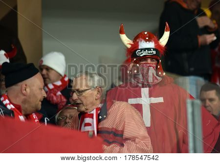 Cheering Soccer Fans Of Denmark Celebrating In Tribune During A Match