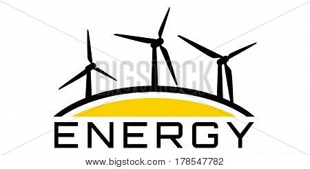 Energy logo with wind-driven generator on a white background