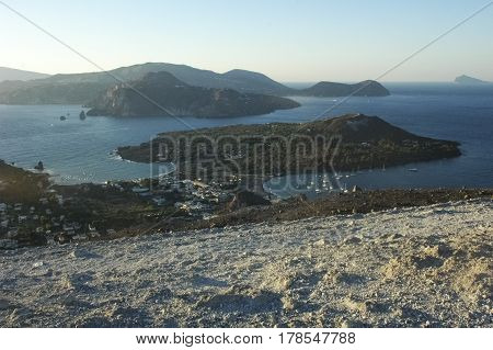 View of suggestive scenery of the Aeolian Islands