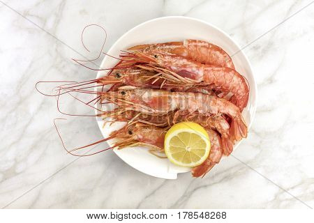 Raw shrimps with a slice of lemon on a plate, shot from above on a white marble table with a place for text