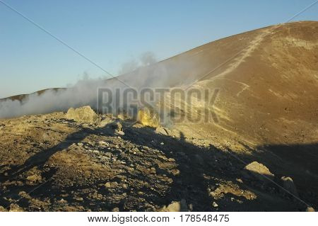 The fumaroles on the top of the volcano