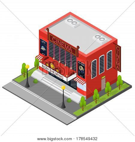 Cinema Building Isometric View Modern Exterior Facade for Cinematography Movie Show Business. Vector illustration
