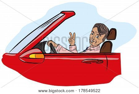 A successful man sits in a car and shows a sign of victory