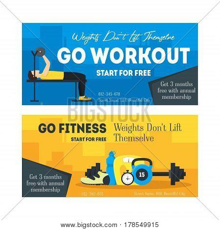 Cartoon Fitness Sport Banner Card Horizontal Set Concept Care Health. Vector illustration