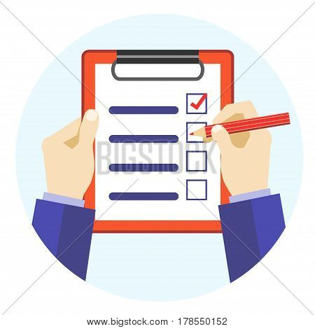 Cartoon Hands Holding Red Pen and Checklist Flat Design Style. Vector illustration