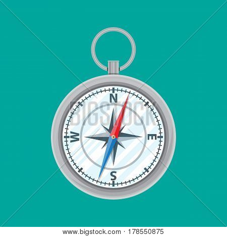 Vintage silver metal compass. Orientation, location, navigation, route. Vector illustration in flat style