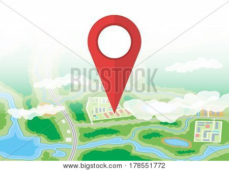 City suburban map and red route pin. Abstract generic map with roads, buildings, parks, river, lake. GPS and navigation. Vector illustration in flat style