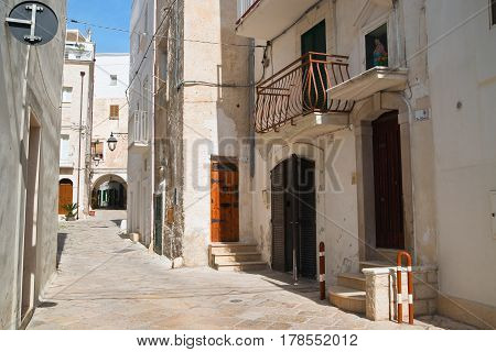 Characteristic alleyway of Monopoli. Puglia. Southern Italy.