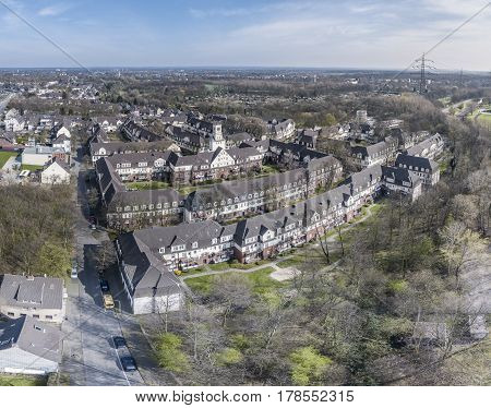 Aerial view of the historic settlement Huettenheim in Duisburg, Germany
