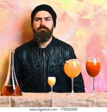 Brutal Caucasian Hipster And Glasses Of Alcoholic Beverage, Cocktails, Shot