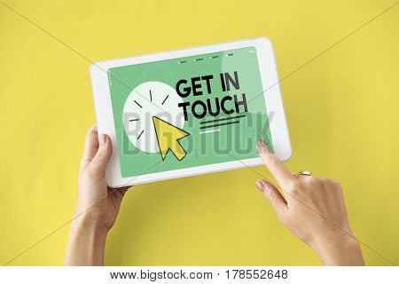 Get in touch word with mouse cursor icon